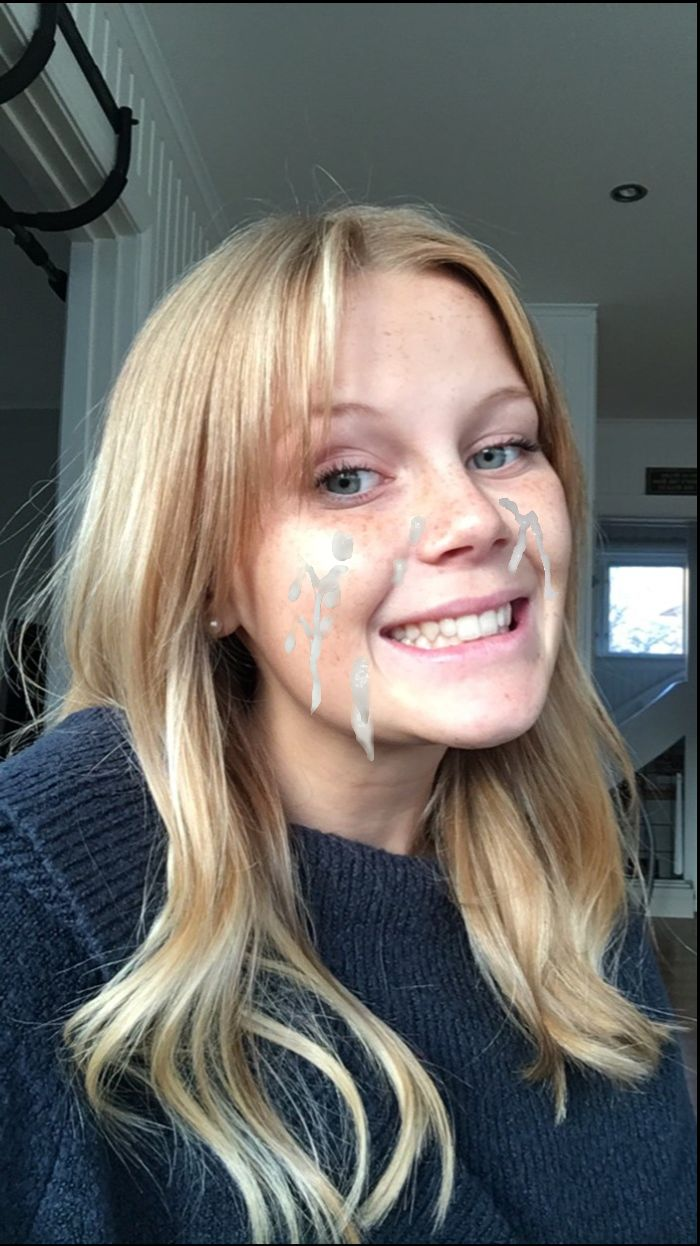 Girl gets face covered in cum