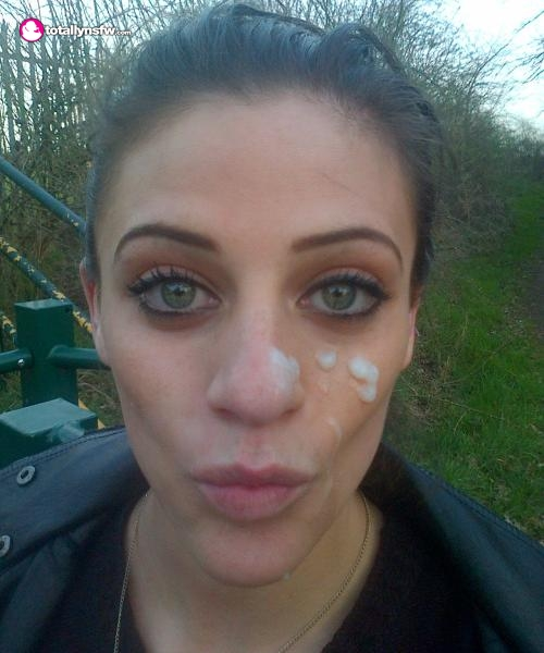 Chick outdoors with facial