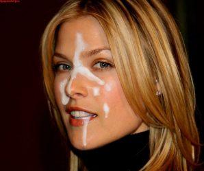 Blonde celebrity with cum on her face
