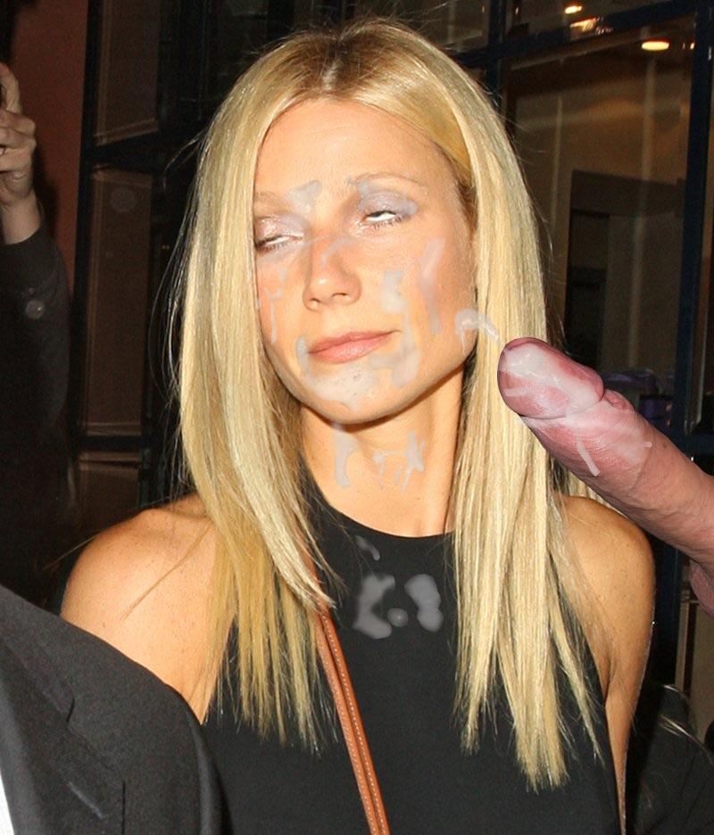 Blonde celebrity coated in cum