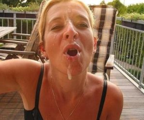 Blonde has cum dripping off her face