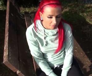 Redhead Fucked On Park Bench