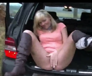 Blonde Pounded Doggystyle In Boot