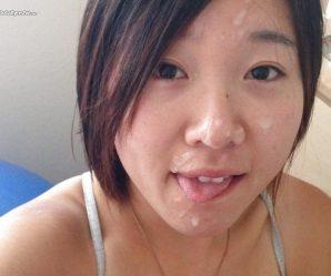 Asian girl with lovely cum facial