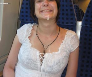 Daring babe wears cum facial on a train