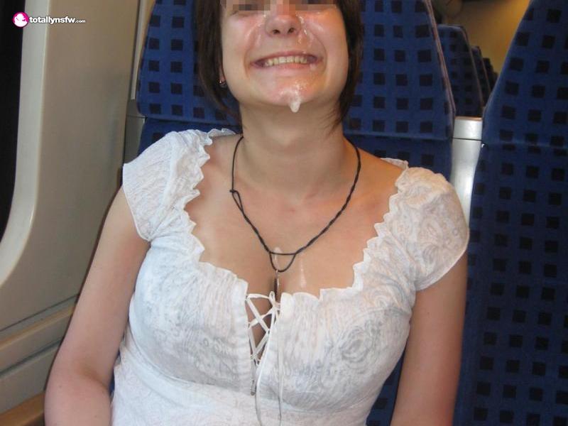 Daring babe wears cum facial on a train - Cum Face