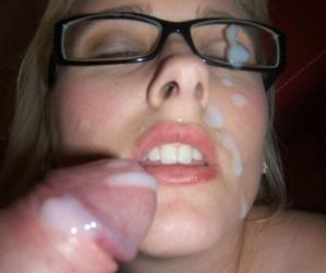 Blonde wearing glasses enjoys cock and cum