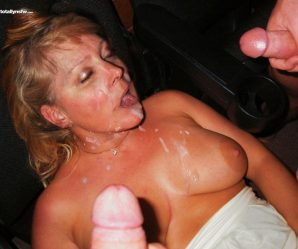 Drunk chick cummed on by two guys