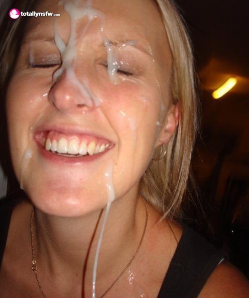 Blonde loves her big cum facial
