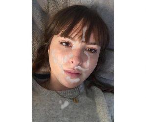 Sweet innocent looking French teen cumshot