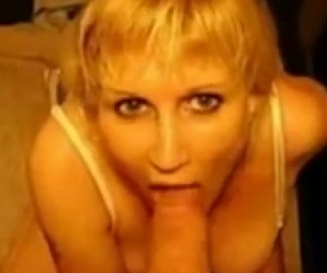 Blonde gives blowjob and takes cum facial