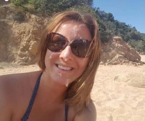 Daring babe wears cum facial at beach