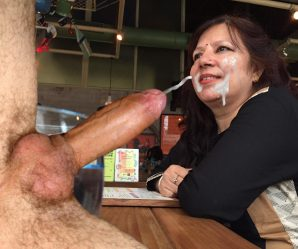 Indian milf eating fat cock and cum