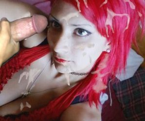 Chick with bright red hair enjoying cock and cum