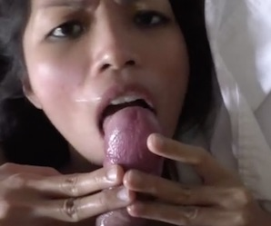 Pretty Asian girl gets unwanted cum facial