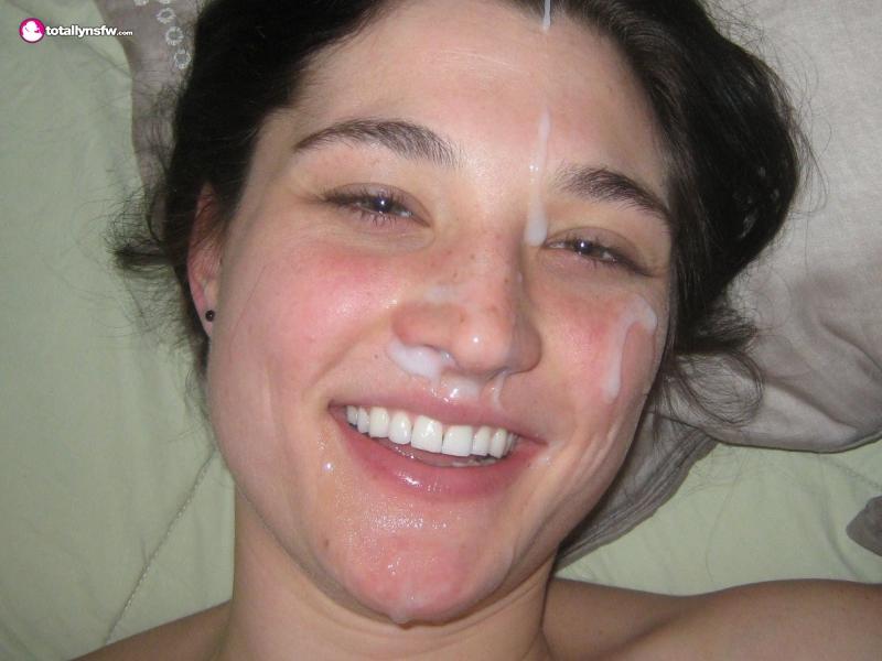 Nice facial on amateur babe
