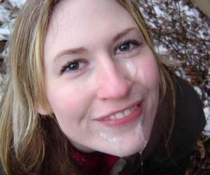 Pretty girl taking cum on her face in the snow