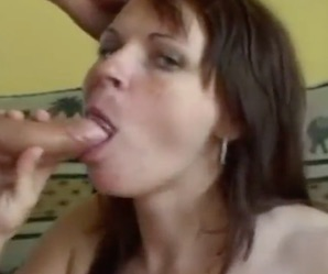 Brunette milf gets face painted with huge load of cum