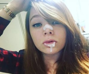 Adorable cum faked brunette teen