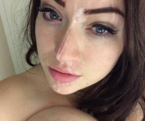 Cutie with red eyes after taking facial