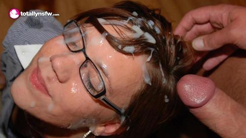 Brunette using cum to wash her hair