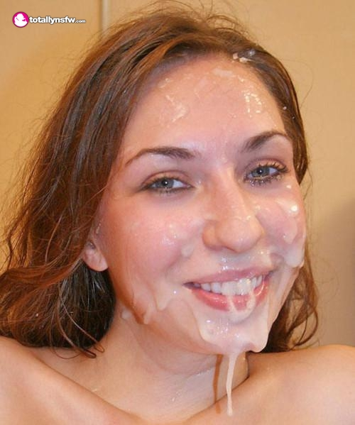 Pretty slut with cum dripping off her face