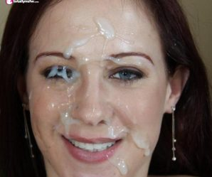 Redhead has cum all over one eye