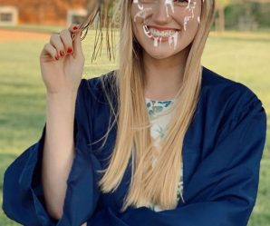 College graduate looks great with cum on her face