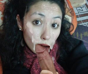 Pretty cumface brunette