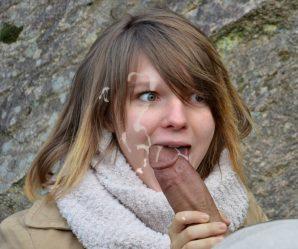 French slut surprised by cumshot