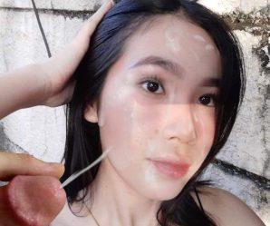 Asian babe cum fake