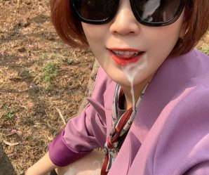 Chinese babe taking cum outside