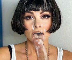 Black hair chick enjoys cock and cum