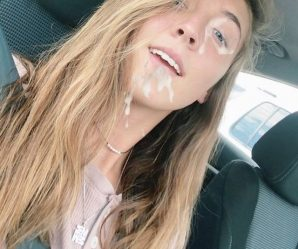 Braces girl poses with cum on her face