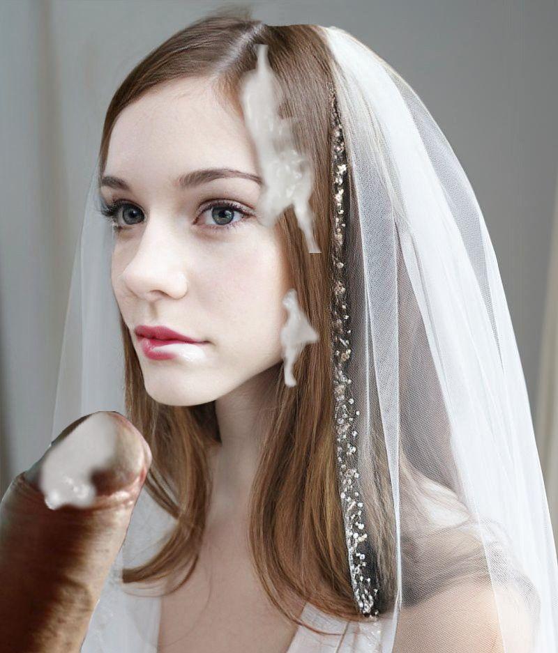 Stunning brunette bride looks great cum faked